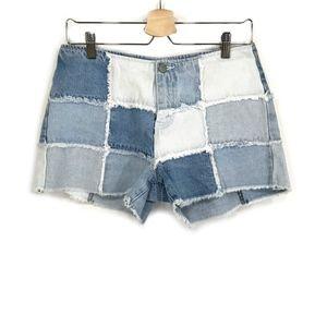 Vintage Denim Patchwork Raw Hems Jean Shorts